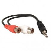 "6"" 3.5mm (M) to Dual RCA (F) Stereo Audio Cable (Black)"
