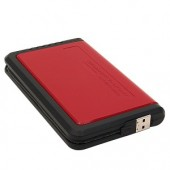 "2.5"" USB 2.0/eSATA External SATA HDD Enclosure w/One Touch Backup (Red/Black) - Supports up to 500GB!"