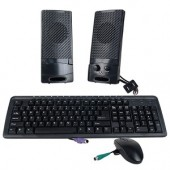 3-in-1 PS/2 Multimedia Keyboard Scroll Mouse &amp; Speakers Kit (Black)