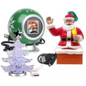 "1.5"" USB Digital Photo Frame Kit w/Santa's Magic Christmas Ornament & USB Powered LED Miniature Christmas Tree"