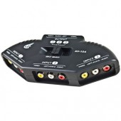 3-in-1 Composite Audio/Video Selector Switch Box (Black) - Connect up to 3 Devices to Your TV!