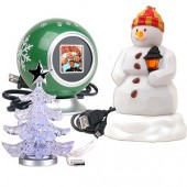 "1.5"" USB Digital Photo Frame Kit w/Snowman Christmas Ornament & USB Powered LED Miniature Christmas Tree"