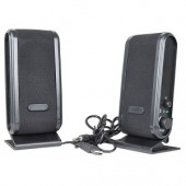 2-Piece USB Powered Multimedia Speaker Set (Silver/Black)
