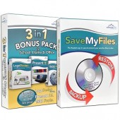 Multimedia & Backup/Restore PC Software Bundle -  Includes LogoDesign Shop Present it! 1500 Fonts & SaveMyFiles