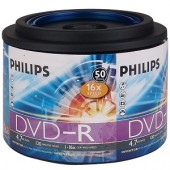 Philips 16x 4.7GB 120-Minute DVD-R Media 50-Piece Spindle