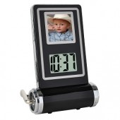 "1.5"" 1MB 128x128 USB Digital Photo Frame w/Clock & Thermometer (Black)"
