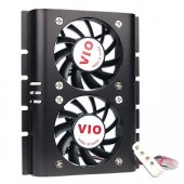 "Hard Drive Cooler w/2 Fans & 4-Pin Connector (Black) - Attach to a 3.5"" Hard Disk Drive!"