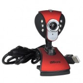 iMicro IM3299 1.3MP (Interpolated) USB 2.0 Webcam w/Built-in Microphone 6 LEDs & LCD Clip-On - Video Chat in Low Light!