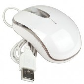 3-Button USB Mini Optical Scroll Mouse w/Color Phasing LED (White)