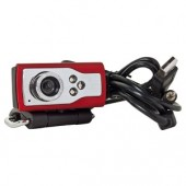 300K USB 2.0 Webcam w/3 LEDs Inline LED Control & Laptop LCD Clip-On (Red/Black) - Video Chat in Low Light!