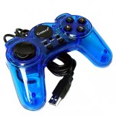 USB 10-Button Gamepad for PC (Translucent Blue)