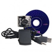 Sabrent WCM-6LNV 300K USB 2.0 Webcam w/6 Infrared Night Vision LEDs Built-in Microphone & Laptop LCD Clip-On
