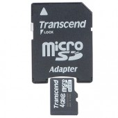 Transcend 4GB Class 2 microSDHC Memory Card w/SD Adapter