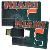 1GB USB University of Miami Hurricances Credit Card Style Flash Drive (Green/Orange)