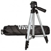 "50"" Vivitar VIV-VPT-1250 Aluminum Camera Tripod w/Bubble Level & Carrying Case (Silver/Black)"