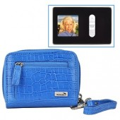 "WalletBe Women's Accordion Croco Embossed Leather Wallet w/1.5"" Digital Photo Viewer (Crocodile Print Ocean Blue)"