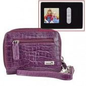 "WalletBe Women's Accordion Croco Embossed Leather Wallet w/1.5"" Digital Photo Viewer (Crocodile Print Purple)"