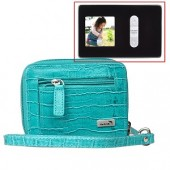 "WalletBe Women's Accordion Croco Embossed Leather Wallet w/1.5"" Digital Photo Viewer (Crocodile Print Teal)"
